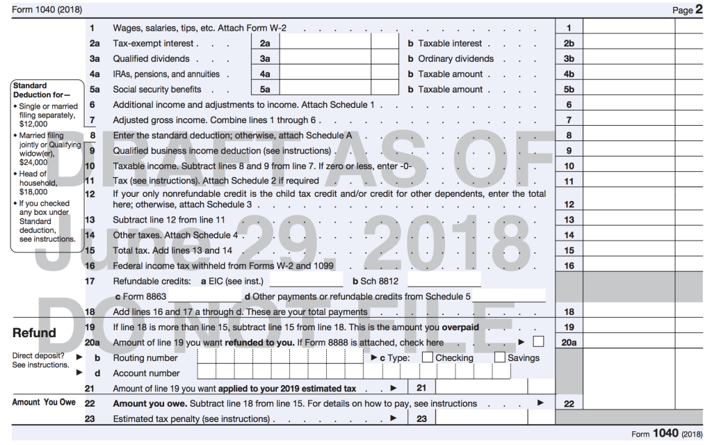 Irs Issuing A New Form 1040 For 2019 Dana Lee Cpa